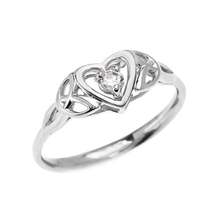 Bague Femme Trinité Nœud Cœur Solitaire Diamant 10 Ct Or Blanc