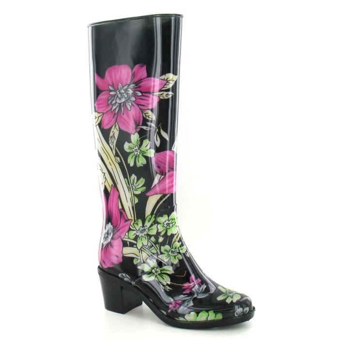 acheter en ligne ce039 ec9d1 Spot On - Bottes de pluie à talon et imprimé floral - Femme