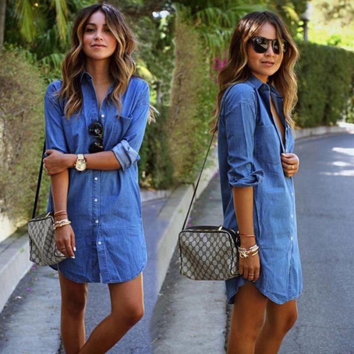 robes femmes Casual féminine Cowboy manches longues rrq7pdnx