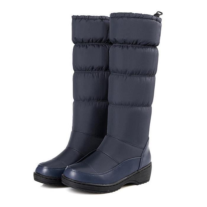 GLAM®Bottes enneigées en cuir femme fourrure épaisse fourrure chaude bottes d'hiver mi-veau