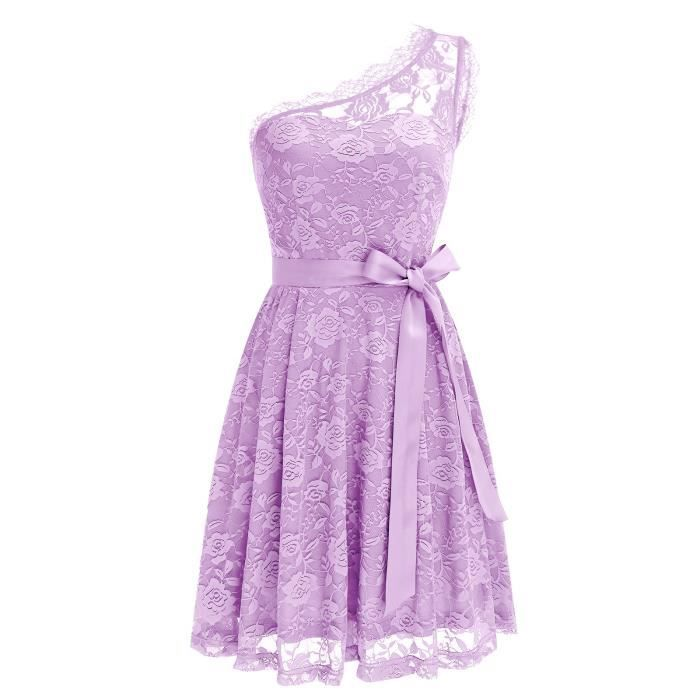 Womens Floral Lace Dress With Two Pockets Short Bridesmaid Dress One Shoulder 2OKRTB Taille-36