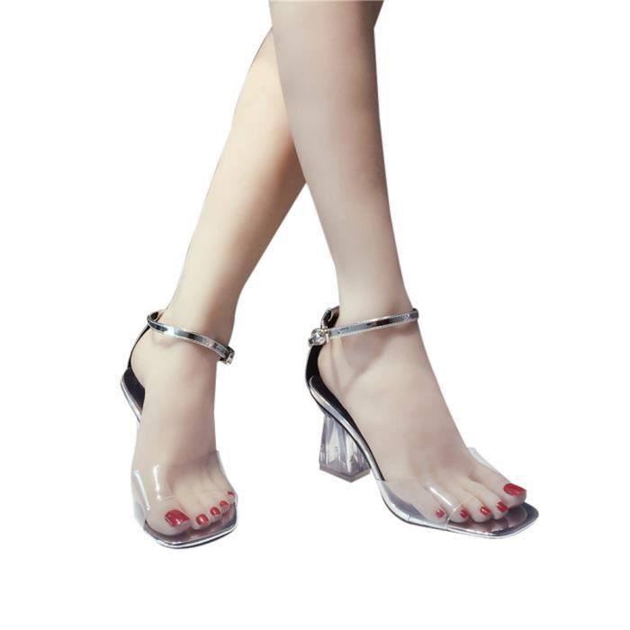 Open argent Talons Block Chaussures Cheville Sandales Femmes Toe Mode Party Hauts Transparent Z8TfxOP