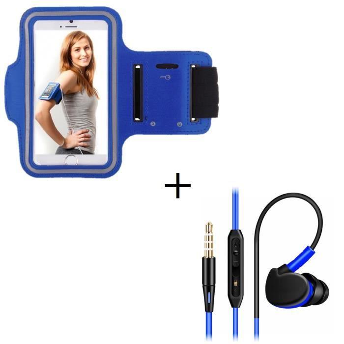 Pack Sport Pour Wiko Jimmy Smartphone (brassard De Ecouteurs Intra-auriculaire Avec Mi - Couleur:bleu