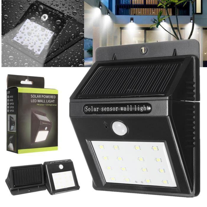 TEMPSA 16 LED Solaire Lampe Jardin Extérieur Éclairage Détecteur Mouvement  Etanche