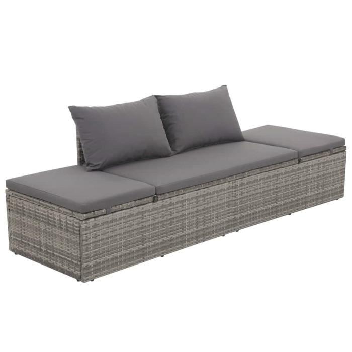Canapé d\'extérieur Résine tressée 195 x 60 x 60 cm Gris - Meubles de ...