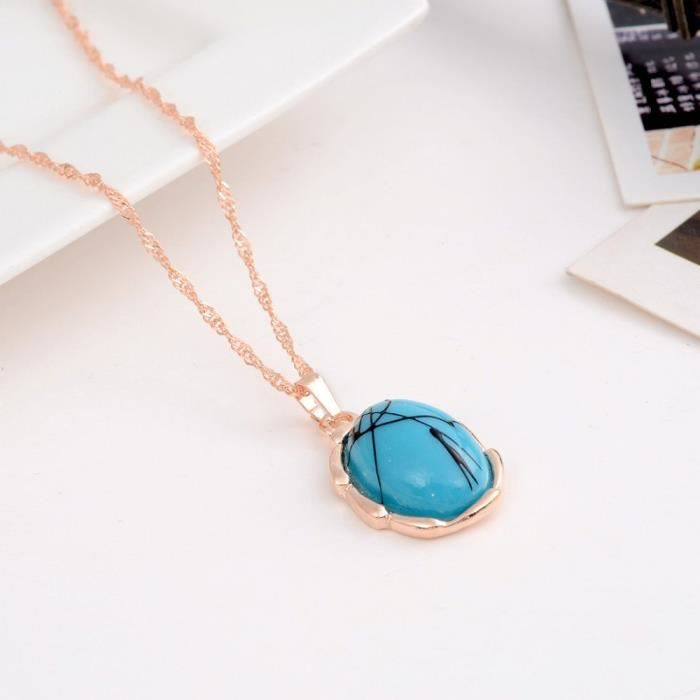 Womens 18k Gold Plated Turquoise Gem Crystal Necklace Earrings Ring Jewelry Set For 7251s B4SKY