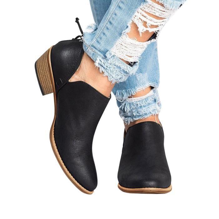 Bottes Courtes Mode Femmes Solide Hexiaoqin 638 Martin Dames noir En Cheville D'automne Chaussures Cuir qwvFTZ