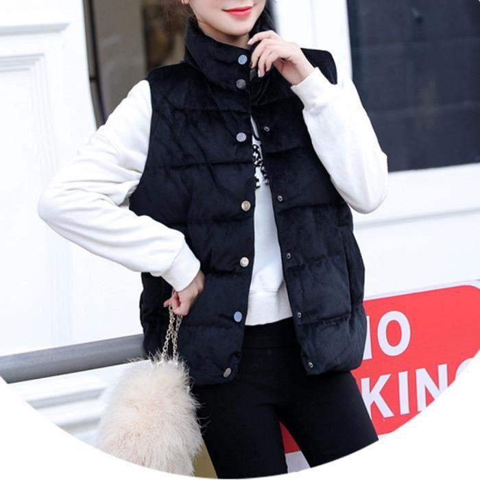 Outwear Solide Noir Chaud Bouton Pied Parka D'hiver De Xlb81023607bk Womens Slim Col Veste Manteau Gilet vdfFqxdAw
