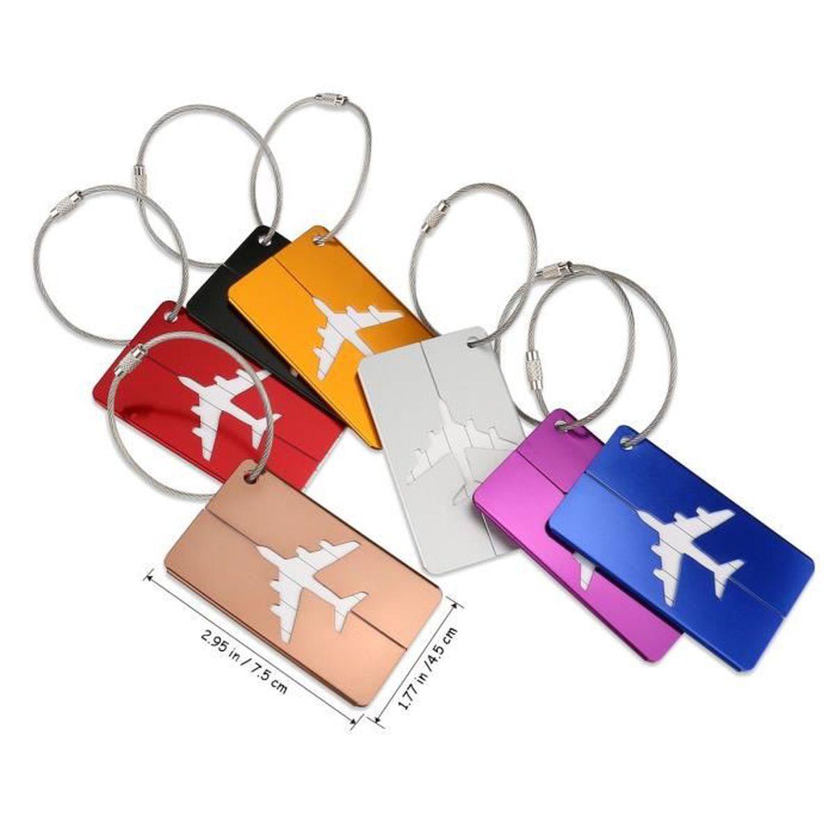 7418b438cb 7 couleurs étiquettes portables aluminium avion modèle voyage bagages sac à  main Tag accessoires voyage