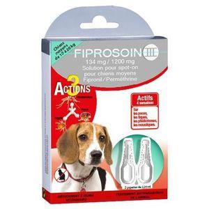 FIPROSOIN III Pipettes antiparasitaires 134 mg / 1200 mg - Pour chien moyen de 10 ? 20 kg - Lot de 2