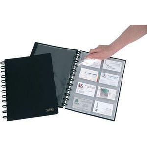 PORTE CARTE Reliure card-lex pour 192 cartes de visite A4 noir
