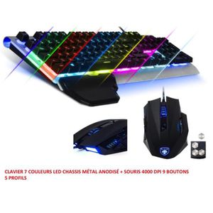 PACK CLAVIER - SOURIS PACK GAMER SOUIRS GAMING 4000 DPI 9 BOUTONS 5 PROF