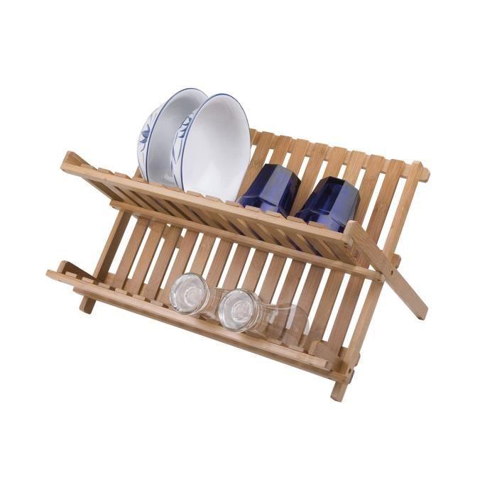 FRANDIS Égouttoir à vaisselle pliable - Bambou