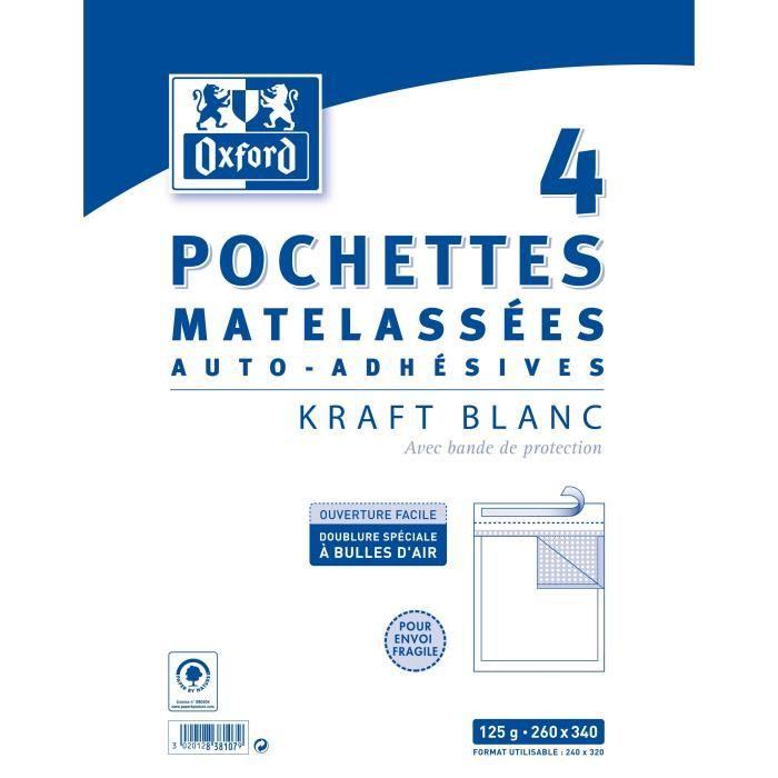 OXFORD 4 Pochettes Matelassées Kraft auto-adhésives - 34 cm x 26 cm x 2,5 cm