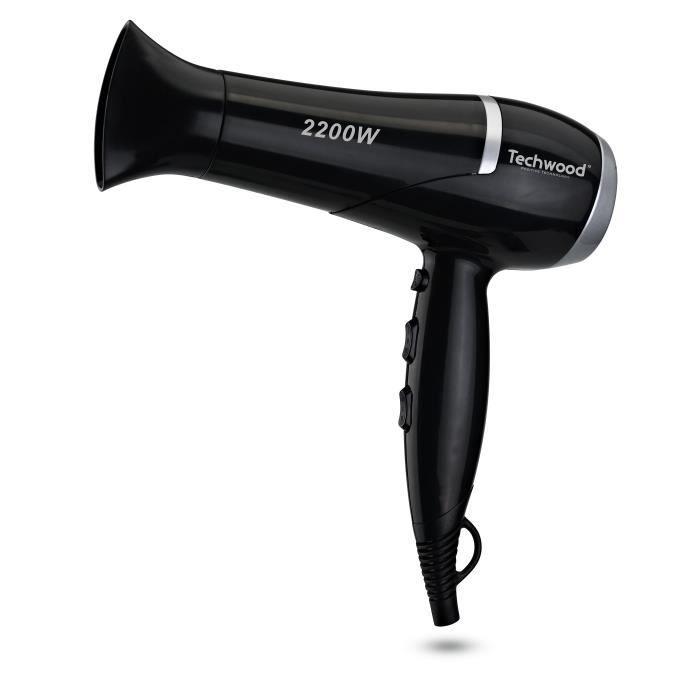 TECHWOOD TCO6079 Sèche-cheveux Professionnel + 3 brosses - Noir et Gris