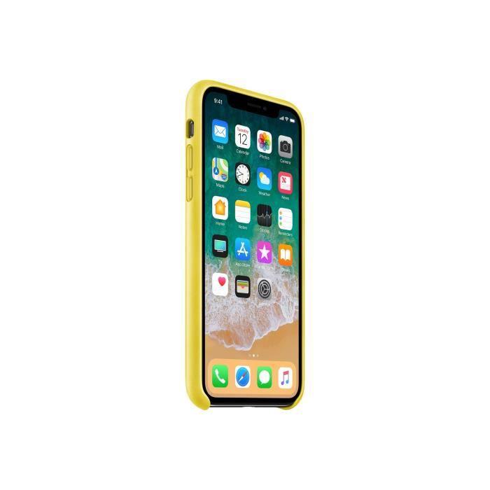 iphone x coque cuir jaune
