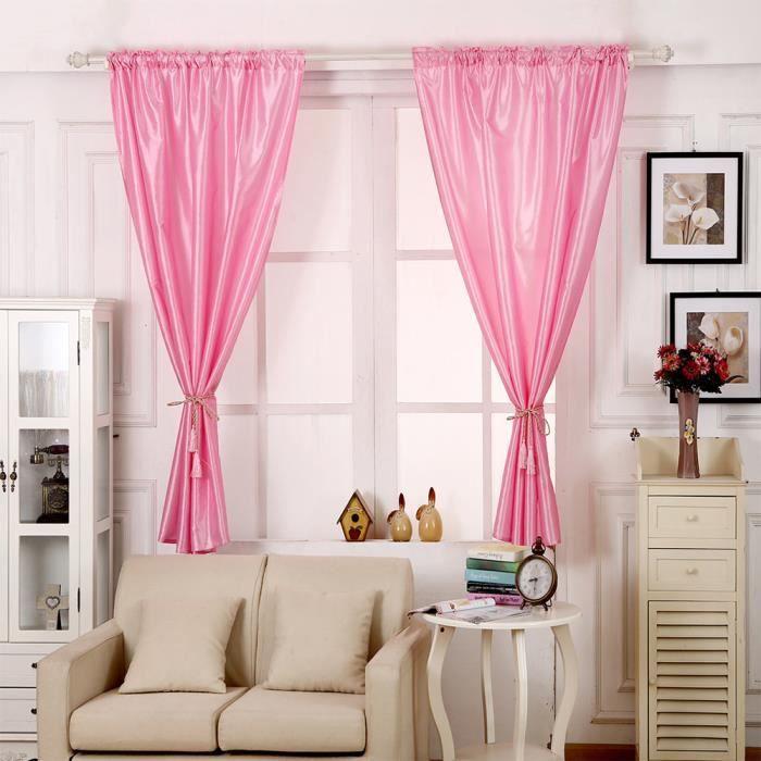 RIDEAU 1 PCS Pure Color Silk Porte fenêtre rideau Drapé P