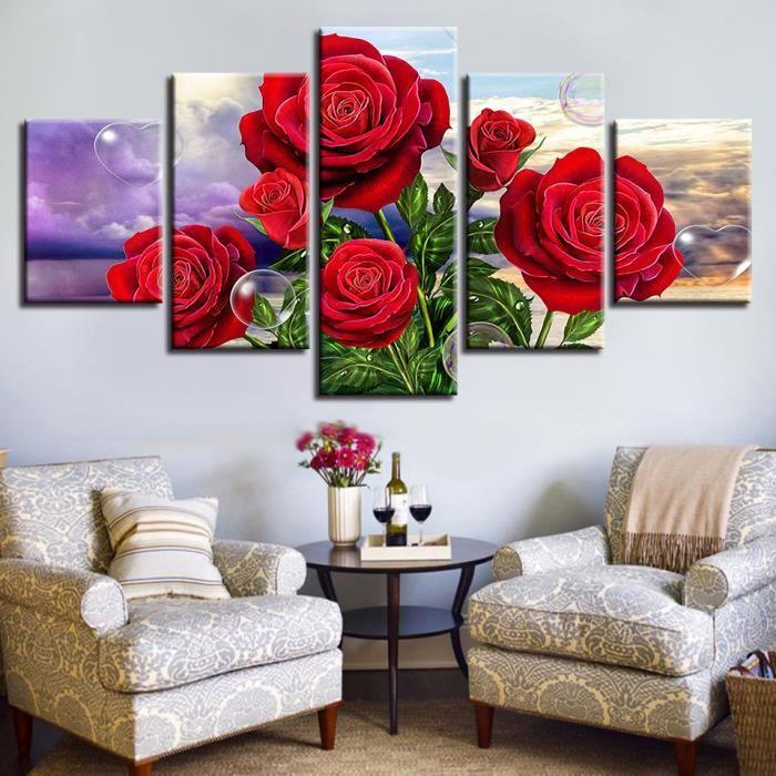 decoration murale fleur 5 piece achat vente pas cher. Black Bedroom Furniture Sets. Home Design Ideas
