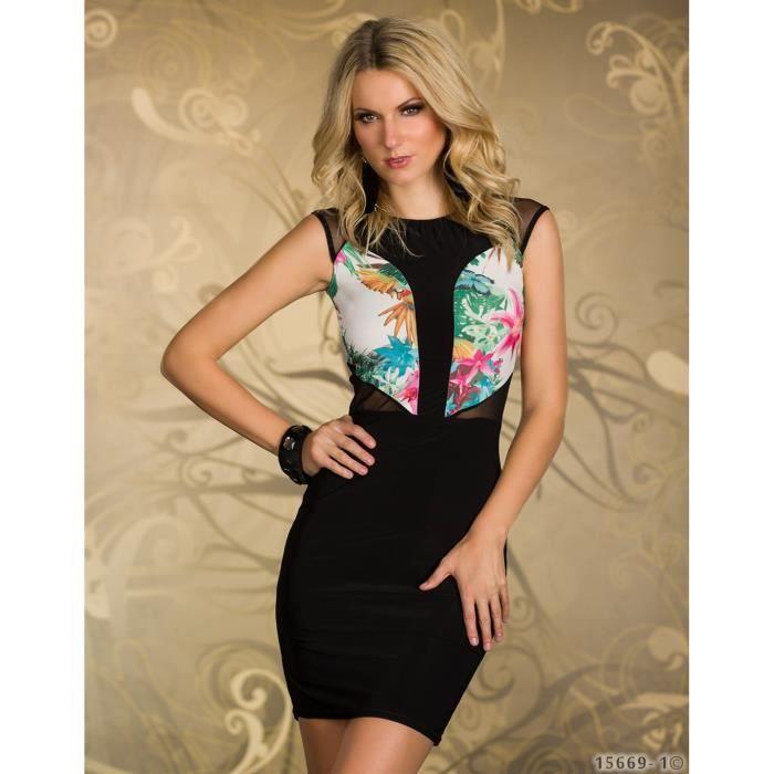 62dbc6927f1 Robe sexy noire motifs femme glamour soirée Noir - Achat   Vente ...