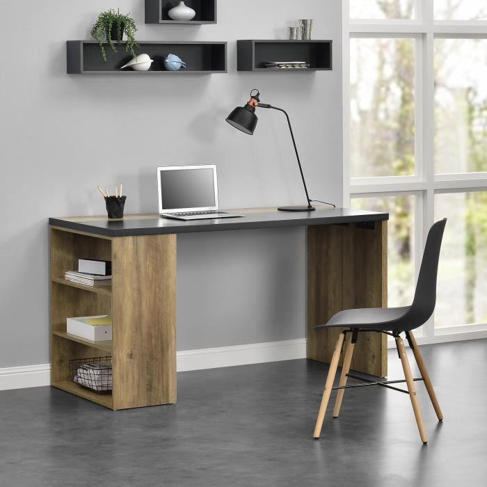 en.casa]® Table de bureau moderne - éscritoire - bois et gris ...