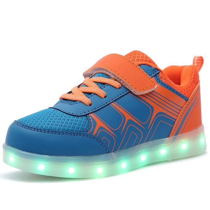 Baskets led Lumineuses Chaussures de Sport Clignotantes changement avez 7 Couleurs LED Enfant Chaussures