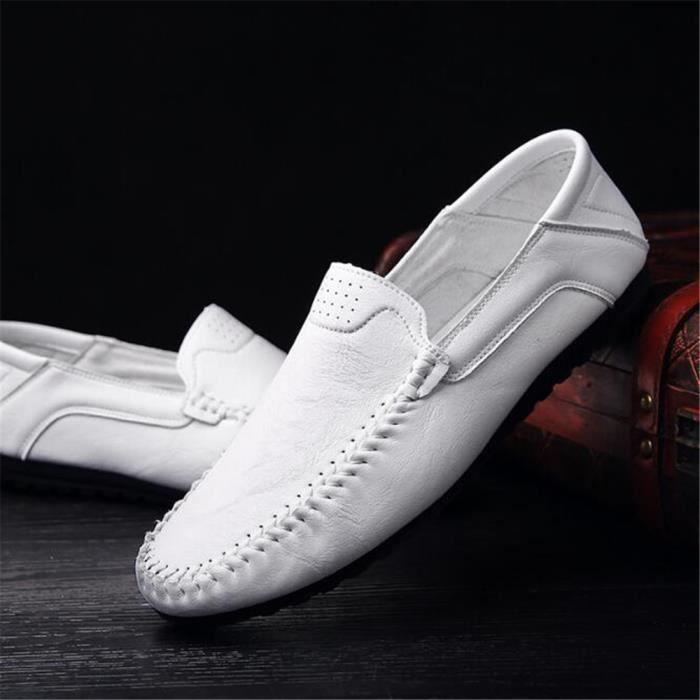 Chaussures homme De Marque De Luxe 2017 ete En Cuir Travail à la main Haut qualité Moccasin Antidérapant Grande Taille u67jUBO