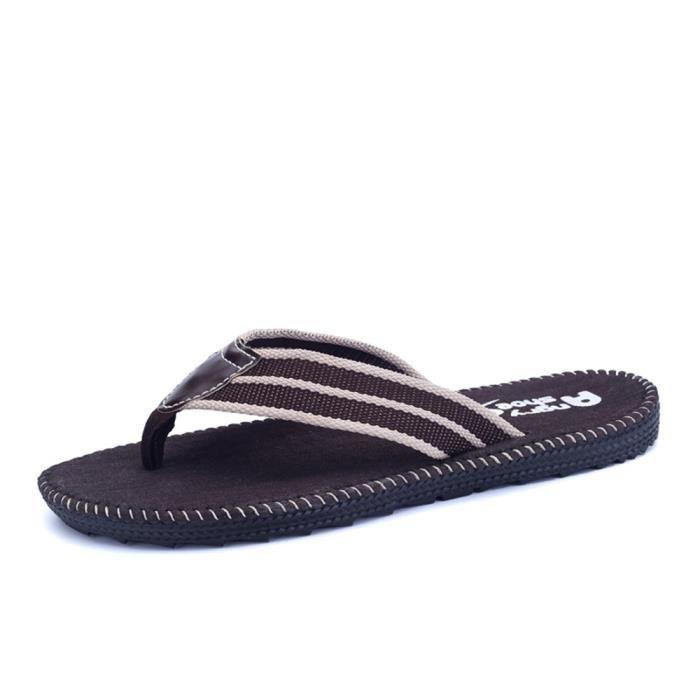 Sandale Shoes Hommes Summer Beach Non-slip Comfortable Classique Plage Chaussures Mode ZX-x002-marron-44