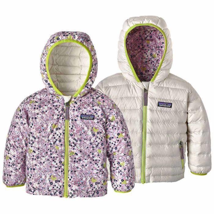 8b037632a03 Vêtements enfant Doudounes Patagonia Reversible Down Hoody Violet ...