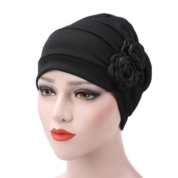 vente moins chère Style magnifique regarder Chapeau de cancer des femmes musulmanes rose fleurs chapeau bonnet Snood  pour la perte de cheveux noir