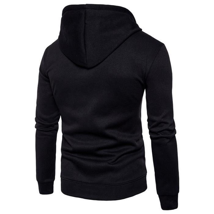 Hommes à manches longues à capuche Stitching Couleur Manteau Veste Outwear Sport TopsNoirNoir