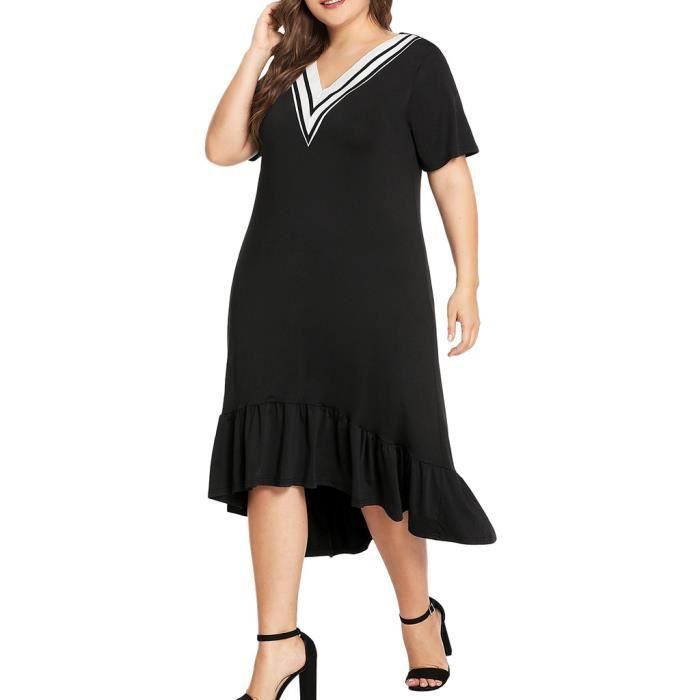 En Longue Lâche Femmes V Volantée Taille Noir Encolure Plus Robe n0OkwP8