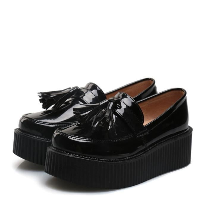 Mode Flats Plate-forme Creepers Mocassins T63B1 Taille-37 1-2