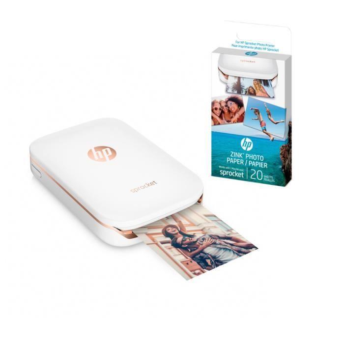 Imprimante photo de poche HP + Papier photo adhésif offert (20 feuilles)