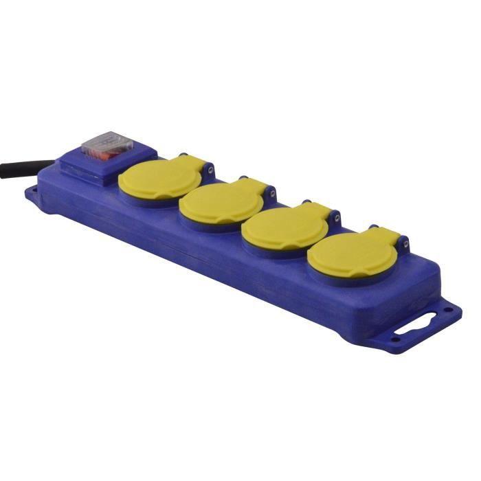 I-WATTS Bloc multiprise 4 prises + interrupteur avec clapets