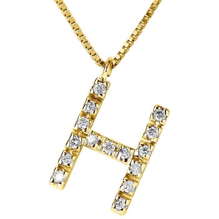 DIAMOND LANE Collier Lettre H Or Jaune 750°et Diamants Femme