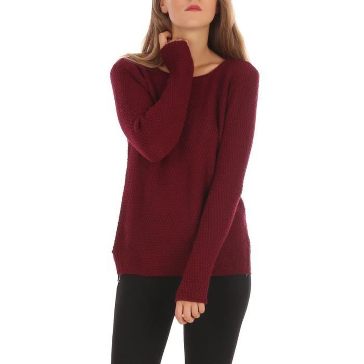 f57f660502a Pull femme maille ajoure - Achat   Vente pas cher