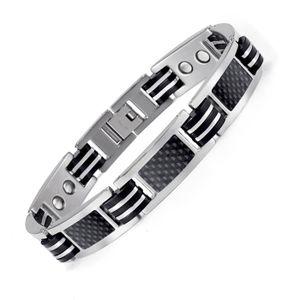 BRACELET - GOURMETTE Bracelet titane magnetique 14 Aimant 3000g fibre d