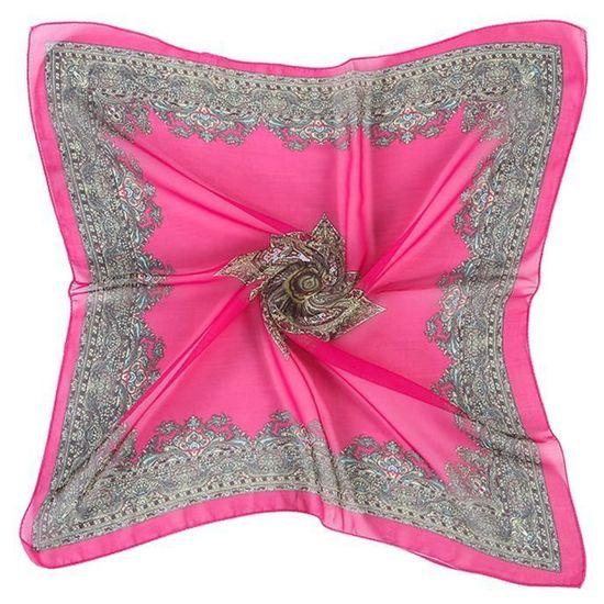 Cadeau de Noël Chaude Femmes Imprimé Grand Carré Mousseline de Soie Écharpe  Tête Wrap Foulard Col Châle CHAUD YYY60809685HOT b6a8fd0e96f