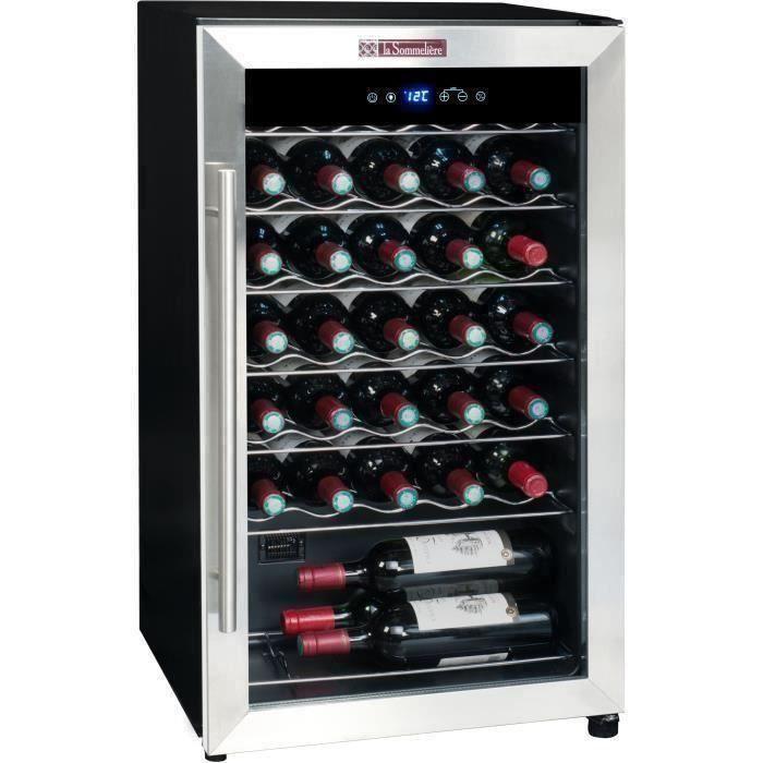 LA SOMMELIERE LS34A - Cave à vin de Service - 34 bouteilles - Pose libre - A - Porte Vitrée -  L 48
