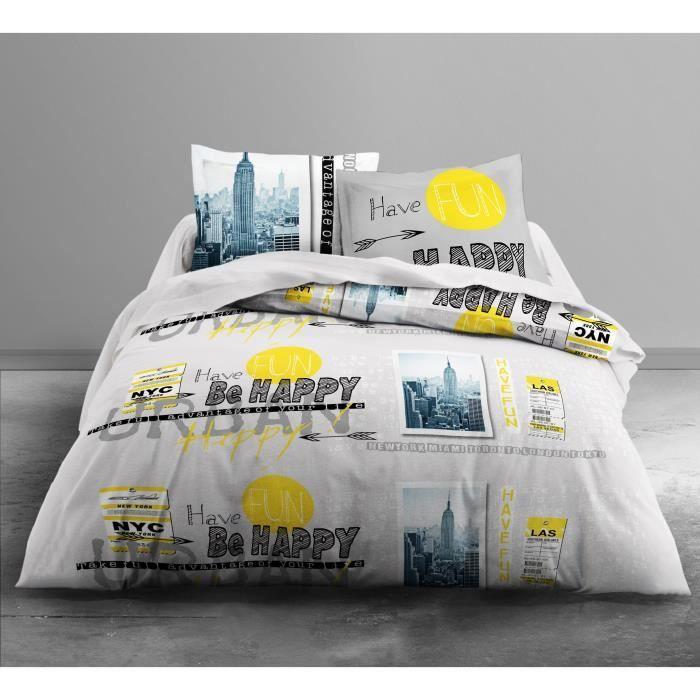 TODAY Parure de couette Only BE URBAN - 1 housse de couette 220x240 cm + 2 taies d'oreillers 63x63 cm blanc, gris et jaune