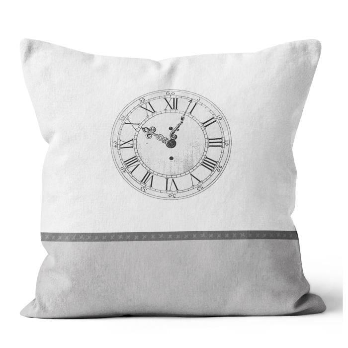SOLEIL D' OCRE Coussin Esprit de Famille 100% coton - Déhoussable - 40 x 40 cm - Horloge - Blanc