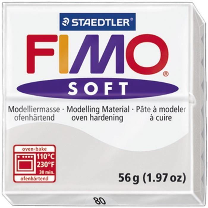STAEDTLER Pâte à modeler à cuire Fimo Soft bloc 56 g gris