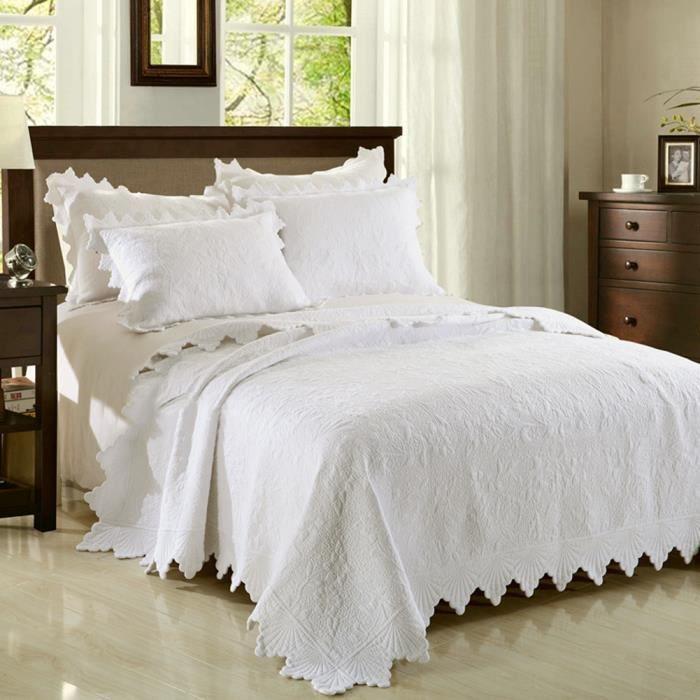 100 coton 3d brod blanc ensemble de courtepointe 3 pi ces ensemble de literie king size. Black Bedroom Furniture Sets. Home Design Ideas