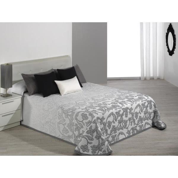 Couvre lit 235x270 cm tissé jacquard Cambera gris pour lit de