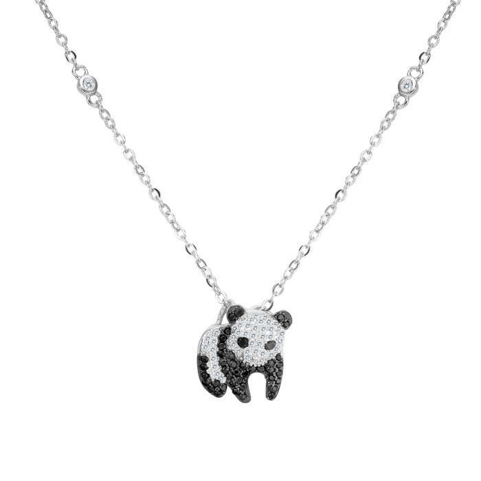 EVER FAITH®-Argent 925 Zircon Panda Animal Ton dArgent Noir et Blanc