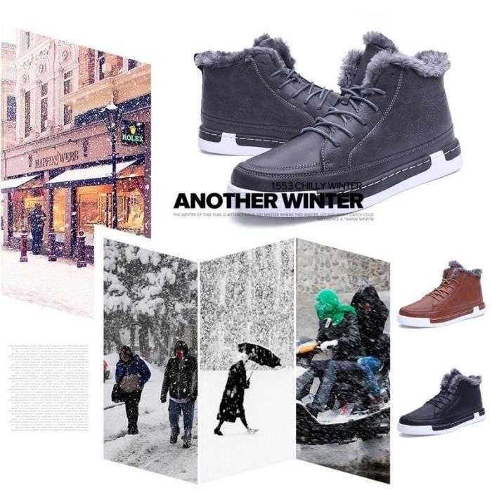 Bottes fourrure d'hiver Mode Hommes chaud Chaussures causales en peluche Bottes en cuir