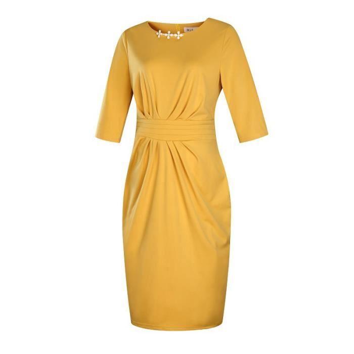 Robe Femme col rond slim fit mode Jaune SIMPLE FLAVOR