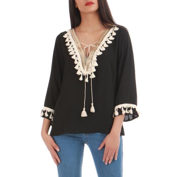 best service f87d2 93621 blouse-fluide-noire-a-pompons-s-m.jpg