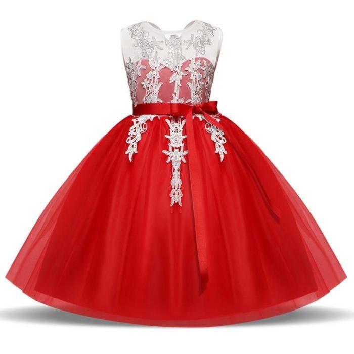 e3c707dfb83 Robe Fille Cérémonie de demoiselle Robe Fille 2-8 ans Rouge Rouge ...