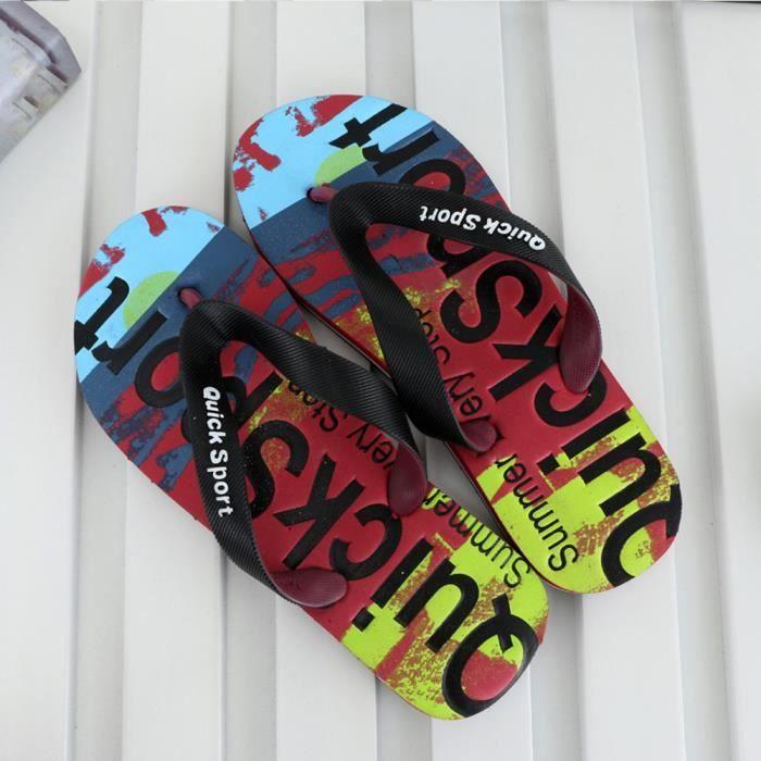 Slides Chaussures Plat Lettres yini4921 Hommes Chaussons Tongs De Sandales Plage Accueil 4wXwqA